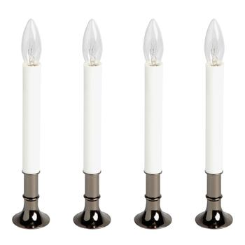 "8.5"" Pewter Window Candlesticks, Set of 4"
