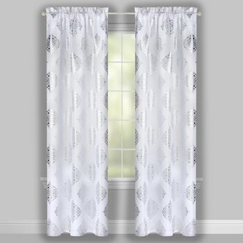 "84"" White Metallic Medallion Window Curtains, Set of 2 view 2"