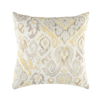Gray/Yellow Paisley Pattern Square Throw Pillow view 1