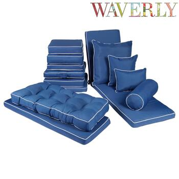 Waverly® Solid Blue Indoor/Outdoor Chair Pads Collection