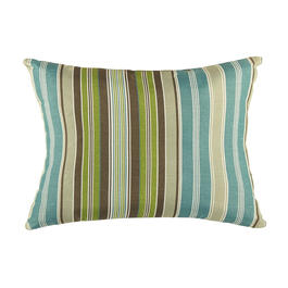 Famous Maker Blue/Green Stripes Indoor/Outdoor Oblong Throw Pillow view 1