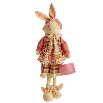 "29"" Standing Bunny Decor with Flower Dress"