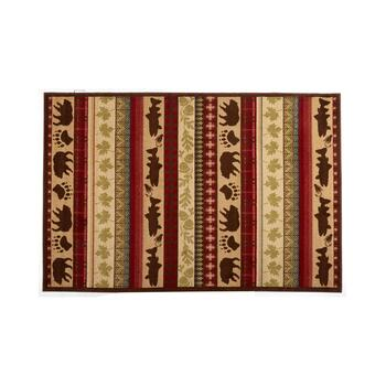 Lodge Animals Striped Area Rug