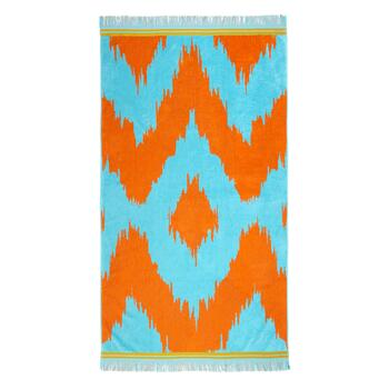 Orange/Teal Zigzag Oversized Jacquard Beach Towel