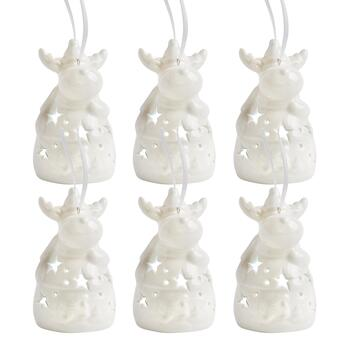 Reindeer with Stars LED Ornaments, Set of 6