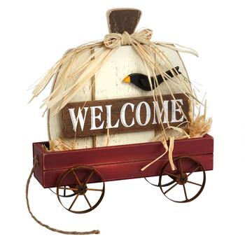 """Welcome"" Decorative Wood Cart with Pumpkin"