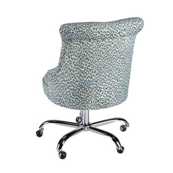 Blue Leopard Upholstery Rolling Office Chair with Nailheads view 2