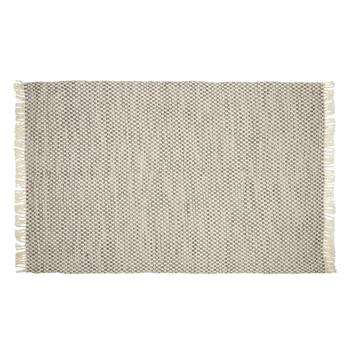 "53""x83"" Gray Woven Dhurri All-Weather Area Rug"