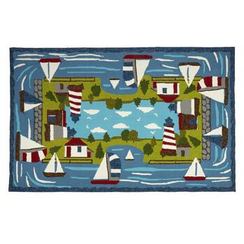 Sailboat & Lighthouse Hooked All-Weather Rug