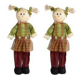 "24"" Green Shirt Standing Girl Scarecrows Decor, Set of 2"