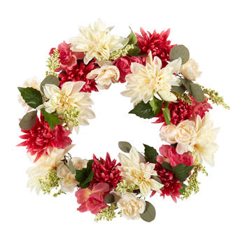 "21"" Red/White Peony and Chrysanthemum Wreath view 1"