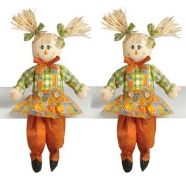 "23"" Orange Pants Sitting Girl Scarecrows Decor, Set of 2"