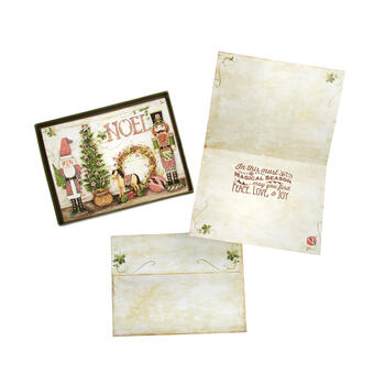 "12-Count ""Noel"" Embossed Santa and Nutcracker Greeting Cards, Set of 2 view 1"