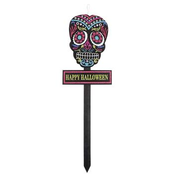 "36"" ""Happy Halloween"" Day of the Dead Skull Yard Stake"