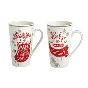 "16-oz. ""Baby It's Cold Outside"" Tall Mugs, Set of 2"