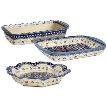 Polish Pottery Floral Peacock Handmade Serveware Collection