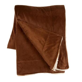 Vertical Brown Stripe Faux Fur Throw Blanket view 2
