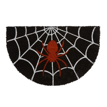 "18""x28"" Spider Web Shaped Halloween Coir Door Mat"