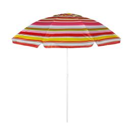 7' Pink/Orange/White Stripe Tilt Beach Umbrella