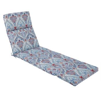 Paisley Blue Indoor/Outdoor Hinged Chaise Chair Pad