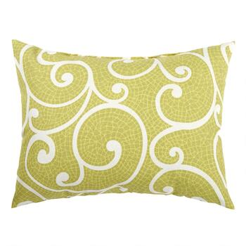 Green Scroll Indoor/Outdoor Oblong Throw Pillow