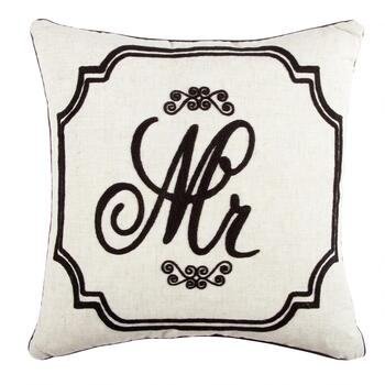 """Mr"" Script Embroidered Feather-Fill Square Throw Pillow"