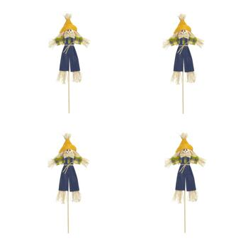 "13"" Scarecrow Boy with Blue Pants on a Stick, Set of 4"