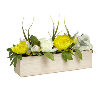 "16.25"" Floral Wood Window Box Centerpiece view 1"