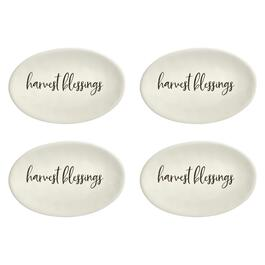 "The Grainhouse™ 5.5""x8"" ""Harvest Blessings"" Ceramic Tidbit Plates, Set of 4"