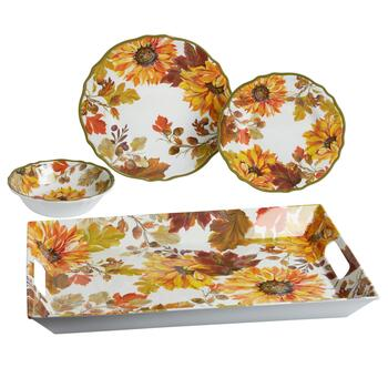 Autumn Sunflowers Melamine Dinnerware Collection