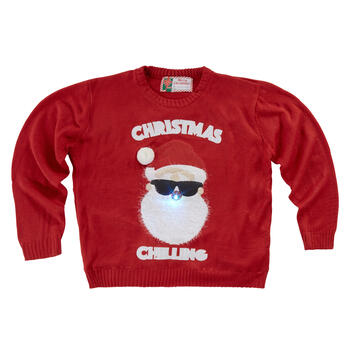 """Christmas Chilling"" Santa in Sunglasses Light-Up Red Ugly Sweater view 1"