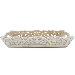 Petal and Stone™ White Wood Tray view 1