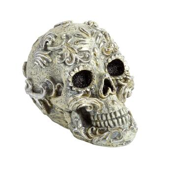 "10"" Silver Halloween Skull Decor"