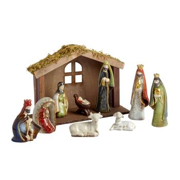 Porcelain Nativity Set, 10-Piece