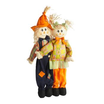 "36"" Dark Blue/Orange Standing Scarecrow Couple Decor"