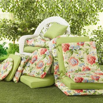 Floral & Solid Green Indoor/Outdoor Cushions