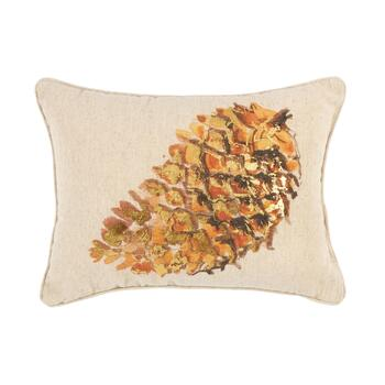 Woodland Pinecone Embellished Oblong Throw Pillow