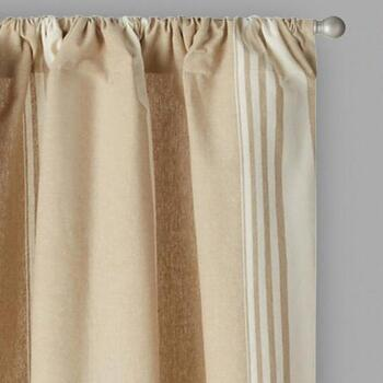 Naya Yarn-Dyed Taupe Striped Cotton Window Curtains, Set of 2