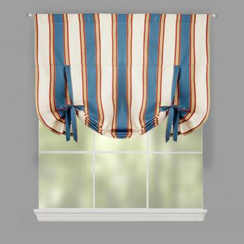Traditions by Waverly® Blue/Ivory Stripe  Tie-Up Window Shade