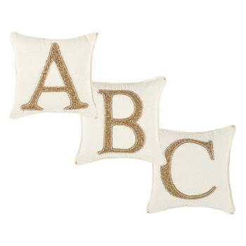 Beaded Gold Monogram Square Throw Pillow view 1