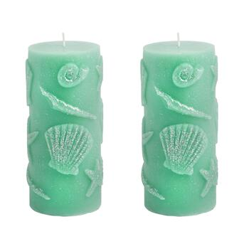 "3""x4"" Starfish and Shells Glitter Pillar Candles, Set of 2"