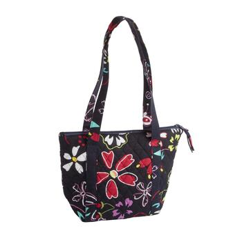 "8""x9"" Black Floral Quilted Insulated Lunch Tote Bag"