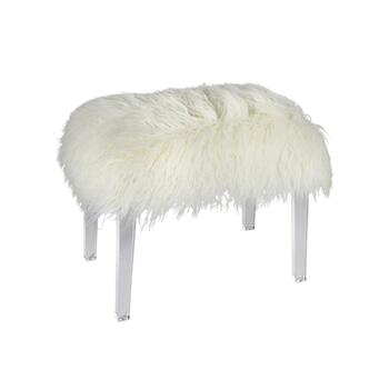 "24.75"" White Fur Acrylic Stool"