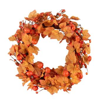 "18"" Orange Leaves and Pumpkins Twig Wreath"