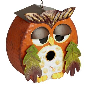 Orange Owl Hanging Birdhouse