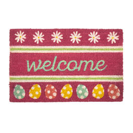 """Welcome"" Flowers and Eggs Coir Door Mat view 1"