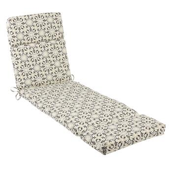 Black Medallion Indoor/Outdoor Hinged Chaise Chair Pad
