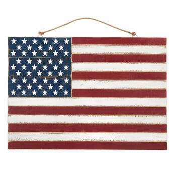"30.25"" American Flag Slatted Wood Wall Hanging Sign view 1"