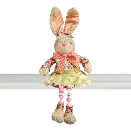 "18.5"" Pink/Green Dress Sitting Bunny with Dangling Legs view 1"