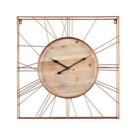 "24"" Copper Wire Frame Square Wall Clock"